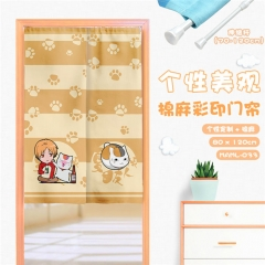 Natsume Yuujinchou Colorful Print Cartoon Cute Cotton-Flax Anime Curtain