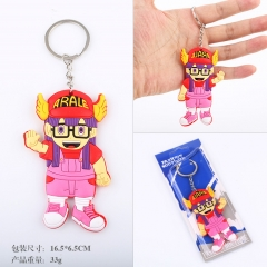 Dr. Slump IQ Arale Cartoon Q Version Two Sides Red Soft PVC Anime Keychain