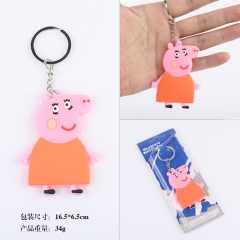 Pappa Pig Piggly Xmas Cute Cartoon Q Version Two Sides Soft PVC Anime Keychain