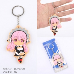 Super Sonico Cartoon Q Version Two Sides Soft PVC Anime Keychain