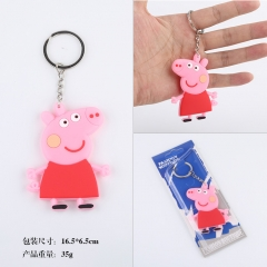 Pappa Pig Cute Cartoon Q Version Two Sides Soft PVC Anime Keychain
