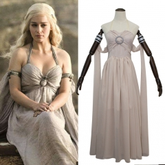 Game Of Thrones Mother Of Dragon Daenerys Targaryen Cosplay Costume White Dress