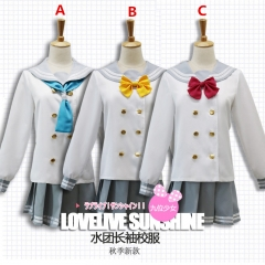 Lovelive Sunshine Cartoon Cosplay Costume Anime Long Sleeves Sailor suit