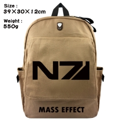 Mass Effect Game Bag Brown Canvas Wholesale Anime Backpack Bags