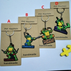Movie Teenage Mutant Ninja Turtles Anime Soft PVC Keychain Kawaii Pendant