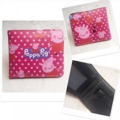 Peppa Pig Cosplay Cartoon Purse Printing PU Leather Bifold Anime Wallet