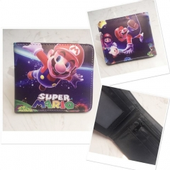 Super Mario Bro Cosplay Game Purse Screen Printing PU Leather Bifold Anime Wallet