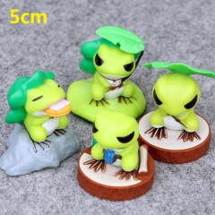 Travel Frog Cartoon Collection Toys Statue Anime Figures 4pcs/set