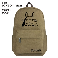 My Neighbor Totoro Cartoon Bag Brown Canvas Wholesale Anime Backpack Bags