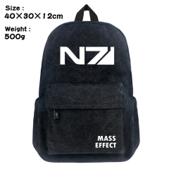 Mass Effect Cartoon Bag Black Canvas Wholesale Anime Backpack Bags