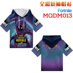 Fortnite Cosplay Cartoon Print Anime Short Sleeves Hooded T Shirts