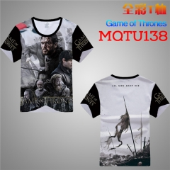 Game of Thrones Cosplay Cartoon Print Anime Short Sleeves T Shirts