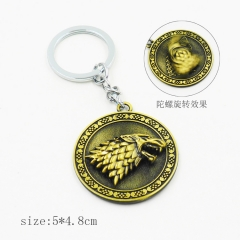 Game of Thrones Bronze Model Pendant Key Ring Wholesale Alloy Anime Keychain
