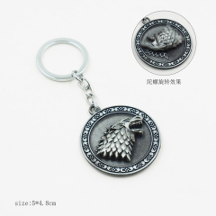 Game of Thrones Silver Model Pendant Key Ring Wholesale Alloy Anime Keychain