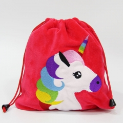 Unicorn Cosplay Cartoon Anime Plush Drawstring Pocket Bag