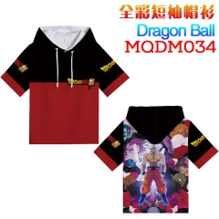 Dragon Ball Z Cosplay Cartoon Print Anime Short Sleeves Hooded T Shirts