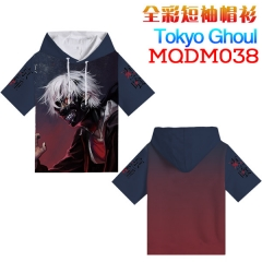 Tokyo Ghoul Cosplay Cartoon Print Anime Short Sleeves Hooded T Shirts