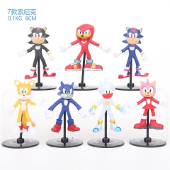 7pcs/set Sonic Cartoon Collection Toys Statue Anime PVC Figure 8cm