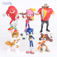 4pcs/set Sonic Cartoon Collection Toys Statue Anime PVC Figure 5-7cm