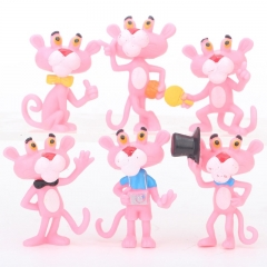 6pcs/set Pink Panther Cartoon Collection Toys Statue Anime PVC Figure 4cm