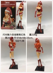 One Piece Cartoon Model Toys Statue Japanese Anime Red Christmas Nami Style PVC Figure 25cm