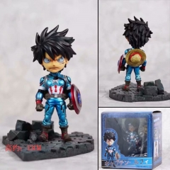 One Piece Q Version Cosplay Captain America Luffy Cartoon Model Action Toy Statue Collection Anime PVC Figures 13cm