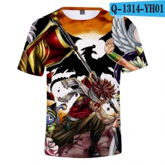 2018 New Colorful Fairy Tail Loose T shirts 3D Short Sleeves T shirt