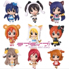9pcs/set LoveLive Cartoon Model Toy Statue Anime PVC Action Figures 5cm