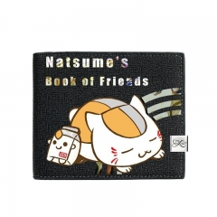 Natsume Yuujinchou Black Short Wallet PU Leather Bifold Wallets Women Coin Purse