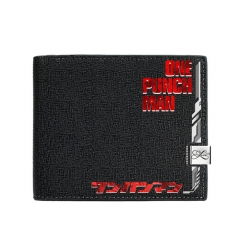 One Punch Man Black Short Wallet PU Leather Bifold Wallets Women Coin Purse
