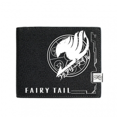 Fairy Tail Black Short Wallet PU Leather Bifold Wallets Women Coin Purse