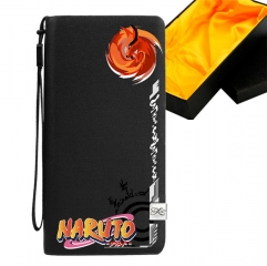 Naruto Black Long Wallet PU Leather Bifold Wallets Women Coin Purse