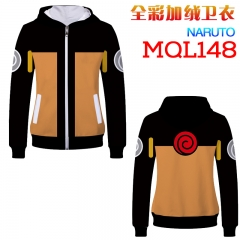 Naruto Fashion Cosplay Cartoon Print Anime Hooded Sweater Zipper With Hat Hoodie