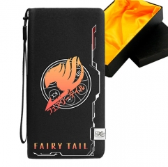 Fairy Tail Black Long Wallet PU Leather Bifold Wallets Women Coin Purse