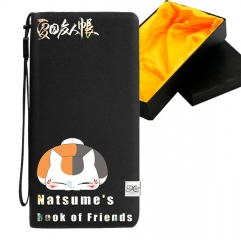 Natsume Yuujinchou Black Long Wallet PU Leather Bifold Wallets Women Coin Purse