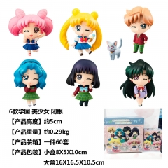 6pcs/set Pretty Soldier Sailor Moon Blink Anime Plastic Figure Cartoon Collection Toys Statue 5cm