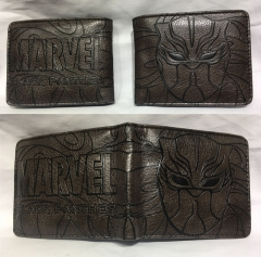 Black Panther Cosplay Hot Movie Cartoon PU Anime Wallet Bifold Coin Purse