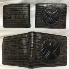 Marvel S.H.I.E.L.D. Cosplay Hot Cartoon PU Anime Wallet Bifold Coin Purse