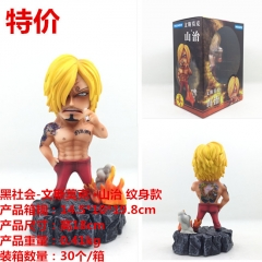 One Piece Sanji with Tattoo Anime Plastic Figure Cartoon Collection Toys Statue 18cm