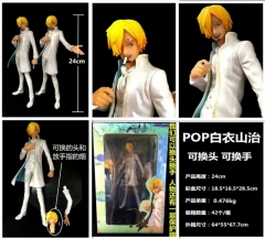 One Piece Sanji Cartoon Model Toy Statue Can Change Head and Hands Anime PVC Action Figures 24cm