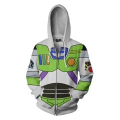 Toy Story Buzz Lightyear 3D Cosplay Cartoon Zipper Hooded Fashion Long Sleeve Hoodie