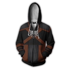 The Witcher 3D Cosplay Cartoon Zipper Hooded Fashion Long Sleeve Hoodie