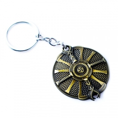 God Of War AXE Shield Design Cosplay Game Pendant Alloy Anime Keychain