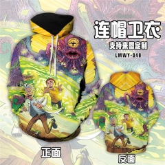 Rick And Morty Fashion Cosplay 3D Hoodie Soft Cartoon Hooded Long Sleeve Pullover Sweatshirt