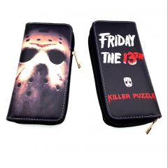 Friday the 13th Killer Puzzle Anime Cartoon Movie PU Wallet Fashion Long Style Bifold Coin Zipper Purse