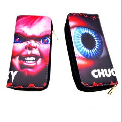 Child's Play Anime Cartoon Movie PU Wallet Fashion Long Style Bifold Coin Zipper Purse