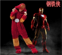 Iron Man Cartoon Cosplay New Kawaii Pyjamas Warm Winter Anime Flannel Pyjamas
