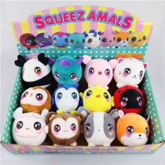 9CM Hot Sell Squishy Squid Ati-Stress Squeeze Toy Anime Stuffed Animals toys  (12pcs different style + color box )