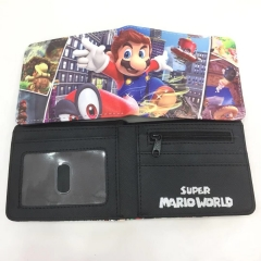 Super Mario Bro Game Cosplay Cartoon Wallets PU Leather Coin Purse Bifold Anime Wallet