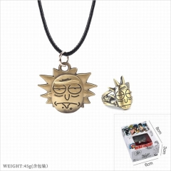Rick and Morty Cosplay Cartoon Decoration Finger Anime Ring+Necklace